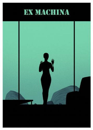 2010's Movie - EX MACHINA - MINIMAL CYAN canvas print - self adhesive poster - photo print